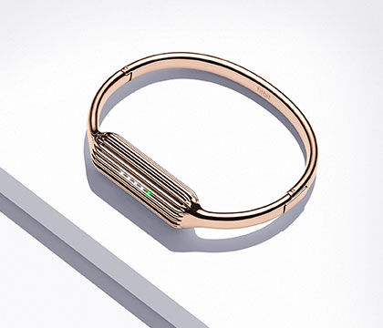 Flex 2 in a 22k-plated rose gold bangle.